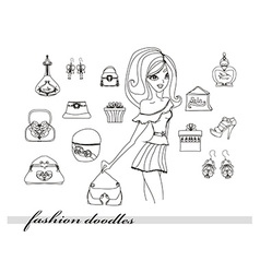 Fashion shopping icon doodle set vector