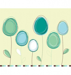 Easter eggs flowers card vector