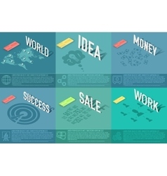 Set of perspective world idea sale success vector