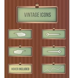 Vintage rectangular icons vector