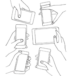 Set of hands with mobile phone smartphone vector