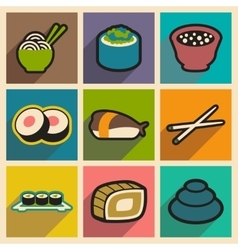 Flat with shadow concept japanese food on stylish vector