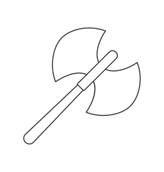Ancient battle double axe thin line icon vector