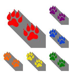 Animal tracks sign set of red orange yellow vector