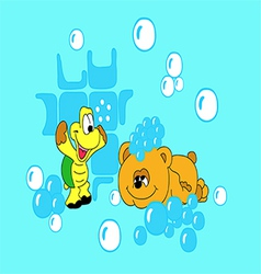 Bear and the tortoise-soap bubbles vector