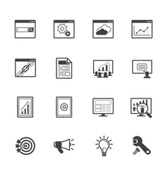 Big data icons set seo concept vector