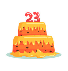Birthday cake with number 23 celebration party vector