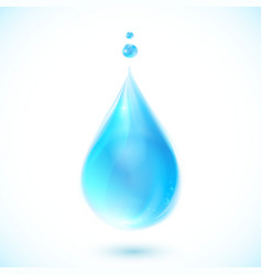 Blue water drop on white background vector image vector image