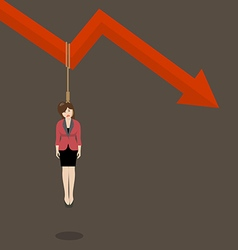 Business woman hang herself on a graph down vector image