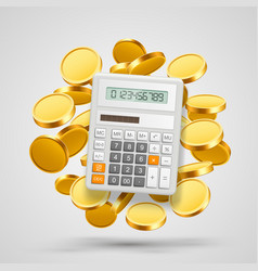 calculator with coins in the background vector image