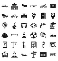 Car place icons set simple style vector