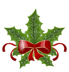 Christmas holly berry branches and bow isolated on vector image
