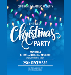 Christmas party invitation poster with hand vector