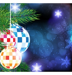 Christmas tree balls on a blue winter background vector image