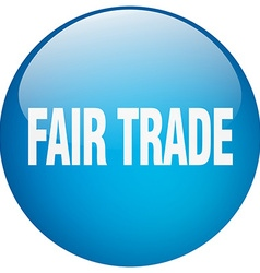 Fair trade blue round gel isolated push button vector
