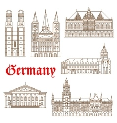 Famous landmarks of german architecture icon vector image vector image