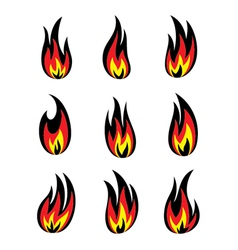 Fire icon set vector image