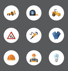Flat icons hardhat caution pneumatic and other vector