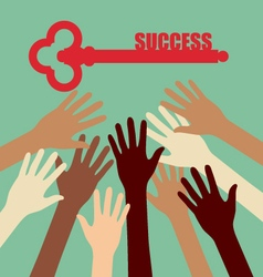 Group of diversity hand reaching key success vector