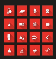 household icons 2 long shadow vector image vector image