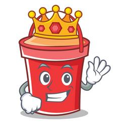 king bucket character cartoon style vector image
