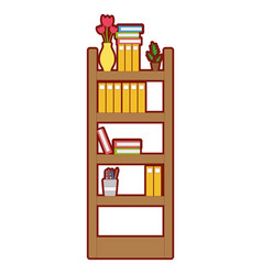 Line color education bookcase with folders vector
