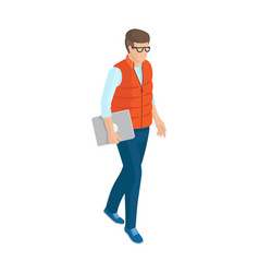 Man in red sleeveless jacket blue jeans and shoes vector