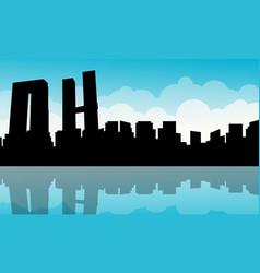 Mexico city building landscape silhouettes vector