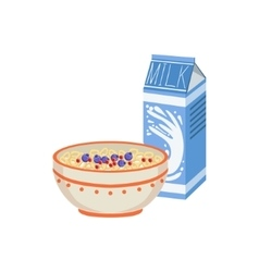 Milk And Porridge Breakfast Food Drink Set vector image vector image