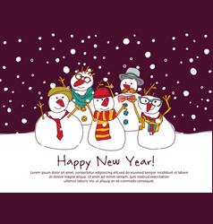 night new year group snowmen greeting card vector image