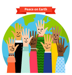 Peace concept peoples hands raised vector