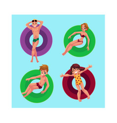 People floating on inflatable rings in swimming vector
