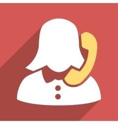 Phone operator flat longshadow square icon vector