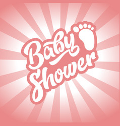 Pink baby foot baby shower invite greeting card vector