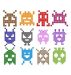 Pixel monster icons vector