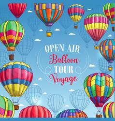 Poster for hot air balloon trip tour vector