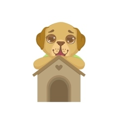 Puppy standing behind kennel vector