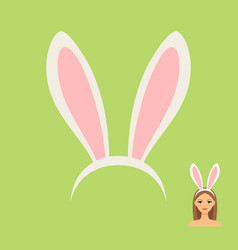 rabbit ears head accessory and girl vector image vector image