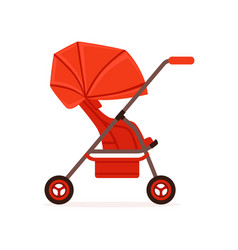 Red baby carriage safe handle transportation of vector