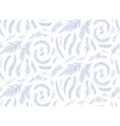 Seamless pattern floral design drawn winter tree vector