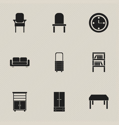 set of 9 editable furniture icons includes vector image