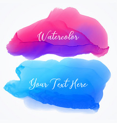 Set of two watercolor stain texture background vector