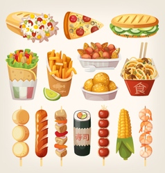 Street food from different countries vector