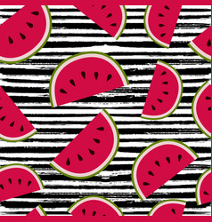 summer watermelon fruit seamless pattern art vector image