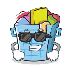 Super cool laundry basket character cartoon vector