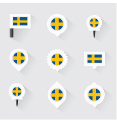 Sweden flag and pins for infographic and map vector