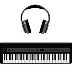 Synthesizer and headphones vector image vector image