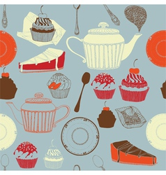 Tea and cakes Seamless pattern vector image vector image