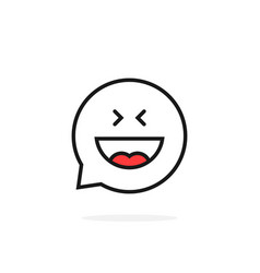 thin line joy emoji speech bubble logo vector image vector image
