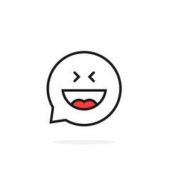 Thin line joy emoji speech bubble logo vector